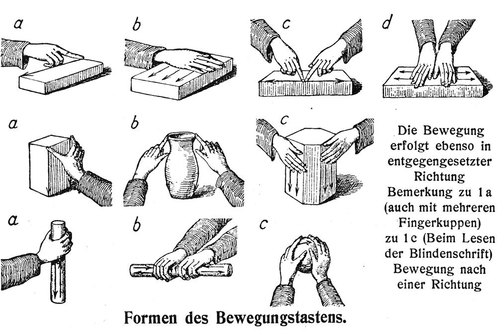 drawing of hands touching objects